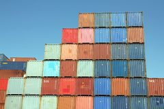 Stacked Shipping Containers and blue sky Royalty Free Stock Images