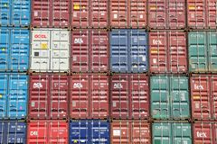 Stacked Shipping Containers Stock Photos