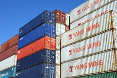 STACKED SHIPPING CONTAINERS Stock Photography
