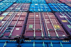 Stacked Shipping Containers. Tokyo, Japan - February 03, 2015:  Close-up wide angle shot of stacked shipping containers Stock Photography