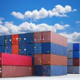 Stacked Shipping Containers and Summer Sky Stock Images