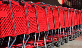 Stacked shopping carts Royalty Free Stock Photo