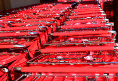 Stacked shopping carts at supermarket Royalty Free Stock Image