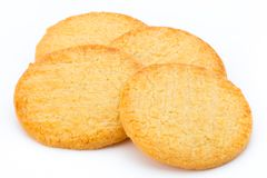 Stacked short pastry cookies isolated on white background. Stock Images