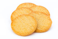 Stacked short pastry cookies isolated on white background. Royalty Free Stock Photos