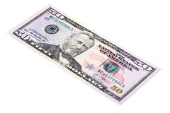 Stacked shot of U.S. fifty dollar American money bill, made at an angle. royalty free stock photography
