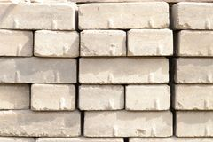 Stacked silicate bricks on the construction site. royalty free stock image
