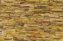 Stacked slate stone wall Stock Photo