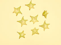 Stacked slices of star fruit Royalty Free Stock Photos