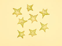 Stacked slices of star fruit Stock Photography