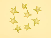 Stacked slices of star fruit Royalty Free Stock Images