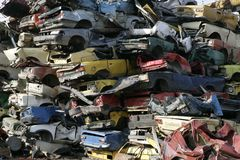 Cars for scrap. Stacked smashed cars for scrap Royalty Free Stock Photography