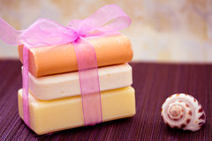 Stacked soaps and shell Royalty Free Stock Photo