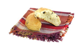 Stacked Split Raisin Bun on Napkin Stock Images