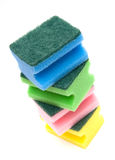 Stacked sponges. Colorful cleaning supplies - stacked sponges isolated on white background Royalty Free Stock Images