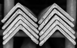 Stacked of Steel Angled Bar. Stock Photos
