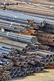Stacked steel pipe Royalty Free Stock Images