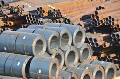 Stacked steel pipe Royalty Free Stock Photos
