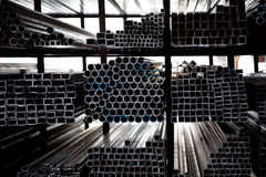 Stacked Steel Pipes Stock Image