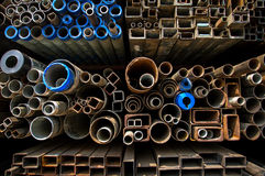 Stacked steel pipes and tubes Royalty Free Stock Photos