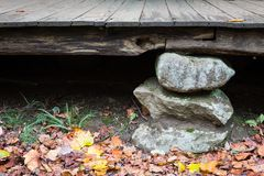 Stacked stone foundation pier on an old Appalachian house porch Stock Photo