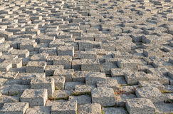 Stacked Stone pavement with different height. Royalty Free Stock Images