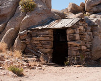 Stacked Stone Shack. Abandoned mine shack lays forgotten in California's Mojave desert near Death Valley Royalty Free Stock Image