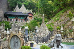 Stacked-stone temple. Famous temple known for craftily stacked stones in south Korea Stock Image