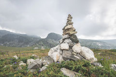 Stacked stones in the mountain Stock Image