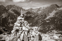 Stacked stones in mountains Stock Photo