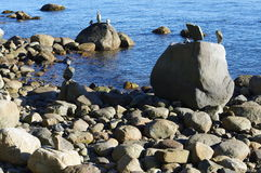 Stacked stones by the ocean Royalty Free Stock Photos