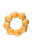 Stacked sugared donuts. Over white background royalty free stock image