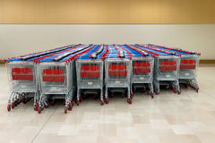 Stacked supermarket trolleys Royalty Free Stock Photo