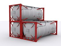 Stacked tank container Stock Photo