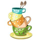 Stacked tea cups. Stacked fancy multi-colored tea cups vector illustration Royalty Free Illustration