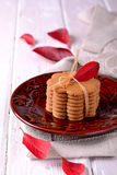 Stacked thin ginger wafer cookies Stock Images
