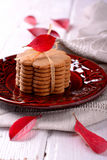 Stacked thin ginger wafer cookies Royalty Free Stock Photos