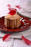 Stacked thin ginger wafer cookies Royalty Free Stock Image