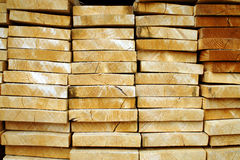 Stacked timber. Pine wood ready for the factory Stock Photo
