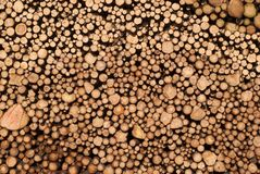 Stacked timber wall Stock Image