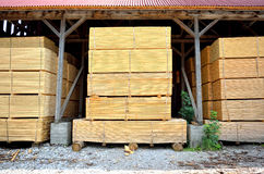 Stacked timber in warehouse Stock Photos