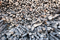 Stacked timber. Wood for fireplaces, athens, greece Royalty Free Stock Photos