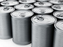 Stacked tin cans isolated on white background. 3D illustration Royalty Free Stock Photo