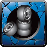 Stacked tires on blue cracked web button Royalty Free Stock Photos