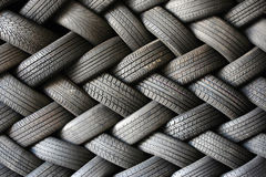 Stacked tires in a pattern Royalty Free Stock Photo