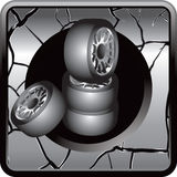 Stacked tires silver cracked web button Stock Photography