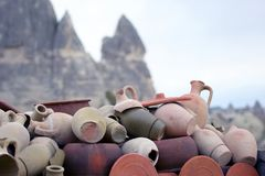 Stacked together broken clay pots. The stacked together broken clay pots Royalty Free Stock Image