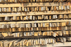 Stacked together wood on a building site Royalty Free Stock Image