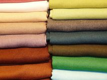 Colored fabrics. Stacked on top of colored fabrics Stock Images