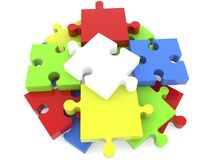 Stacked on top of each other puzzle pieces Stock Photography